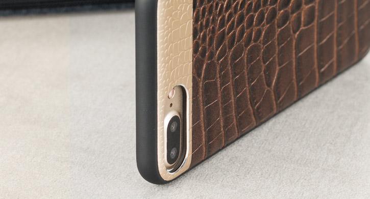 CROCO2 Genuine Leather iPhone 7 Plus Case - Brown