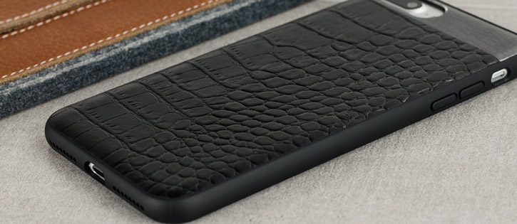 CROCO2 Genuine Leather iPhone 7 Plus Case - Black