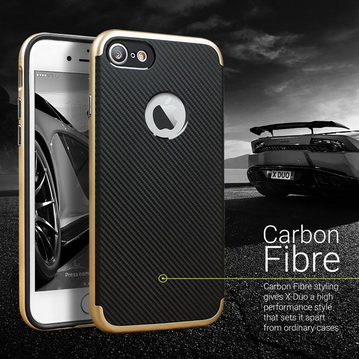 Olixar X-Duo iPhone 7 Case - Carbon Fibre Gold