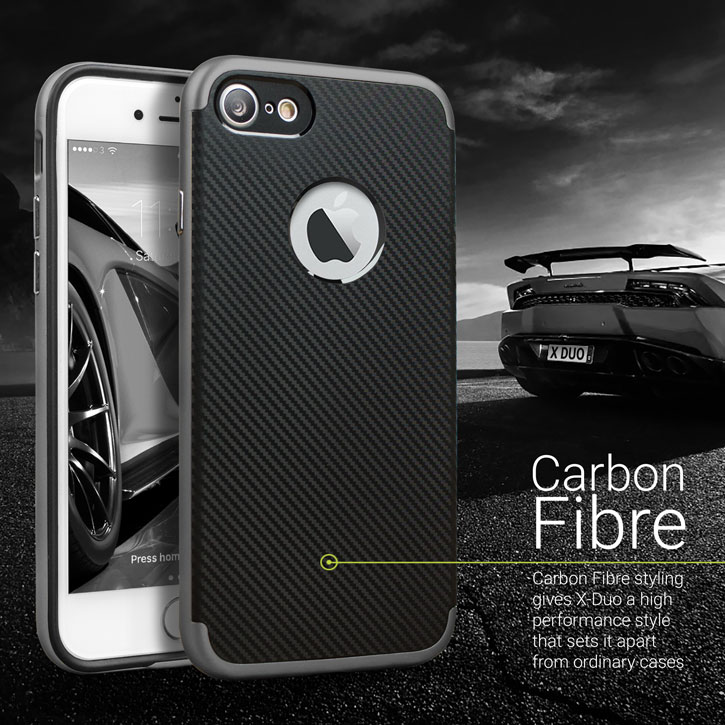 Olixar X-Duo iPhone 7 Case - Carbon Fibre Metallic Grey