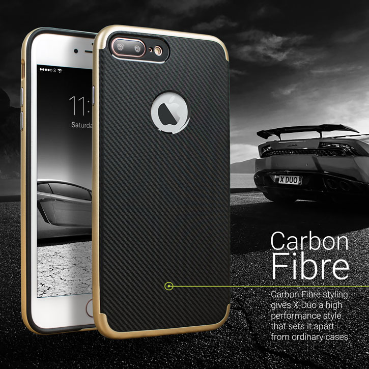 the latest 77355 9422b Olixar XDuo iPhone 8 Plus Case - Carbon Fibre Gold