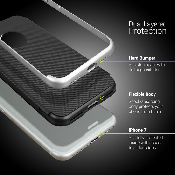 Olixar X-Duo iPhone 7 Plus Case - Carbon Fibre Silver