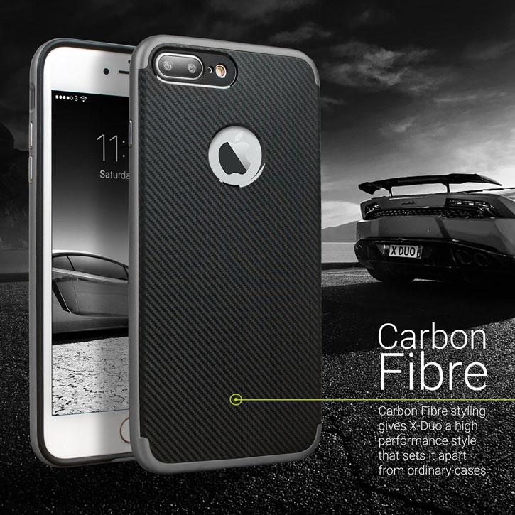 Olixar X-Duo iPhone 7 Plus Case - Carbon Fibre Metallic Grey