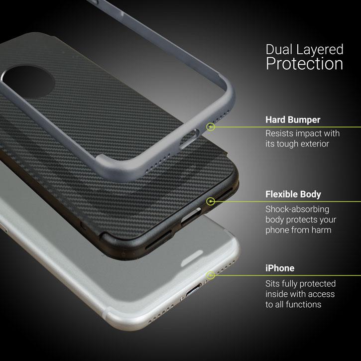 Olixar X-Duo iPhone 8 Plus Case - Carbon Fibre Metallic Grey