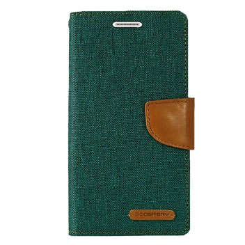 Mercury Canvas Diary Samsung Galaxy S6 Wallet Case - Green/Camel