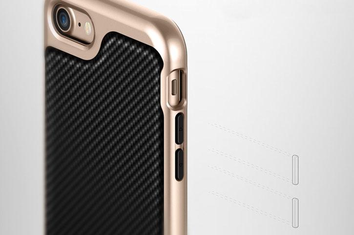 Coque iPhone 7 Plus Caseology Envoy Series – Fibre Carbone Noir vue sur touches
