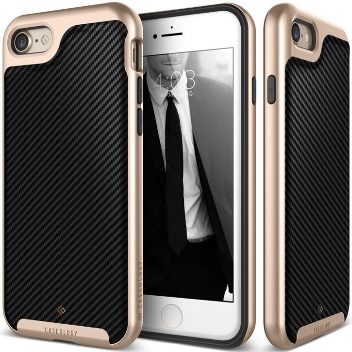 Coque iPhone 7 Plus Caseology Envoy Series – Fibre Carbone Noir vue sur appareil photo