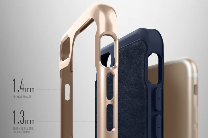 Coque iPhone 8 / 7 Caseology Envoy Series – Cuir Bleu Marine
