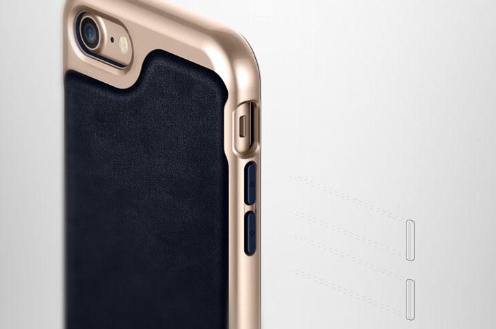Coque iPhone 8 / 7 Caseology Envoy Series – Cuir Bleu Marine vue sur touches