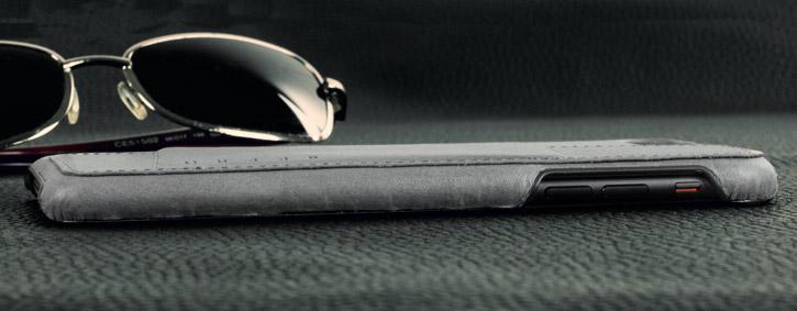 Coque iPhone 7 Plus Mujjo Portefeuille Effet Cuir - Grise vue sur touches