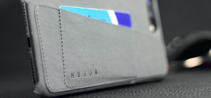 Coque iPhone 7 Plus Mujjo Portefeuille Effet Cuir - Grise vue sur port