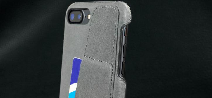 Coque iPhone 7 Plus Mujjo Portefeuille Effet Cuir - Grise vue sur appareil photo