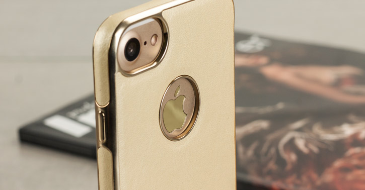 Olixar FlexiLeather iPhone 7 Case - Gold