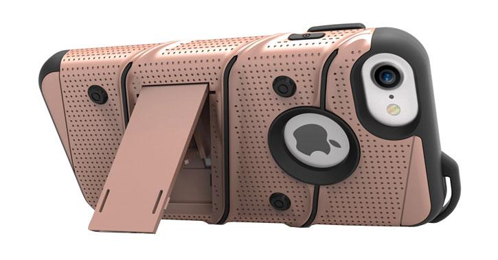 Zizo Bolt Series iPhone 7 Tough Case & Belt Clip - Rose Gold / Black
