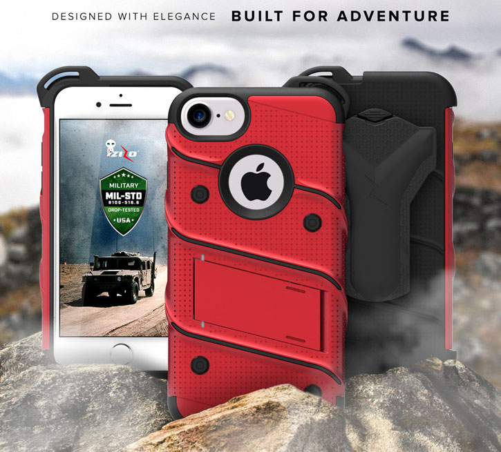 Zizo Bolt Series iPhone 7 Tough Case & Belt Clip - Red / Black