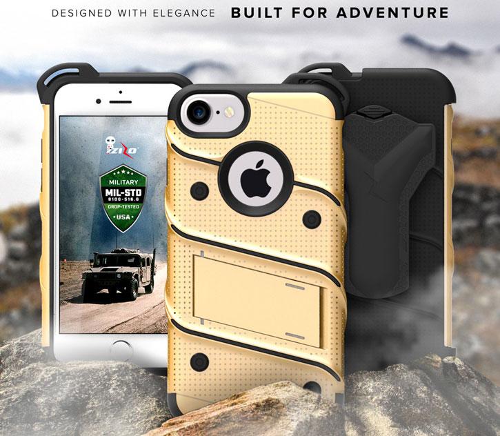 Zizo Bolt Series iPhone 7 Skal & bältesklämma - Guld / Svart