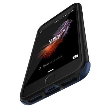 Coque iPhone 8 / 7 VRS Design Duo Guard – Bleue Corail vue sur ports
