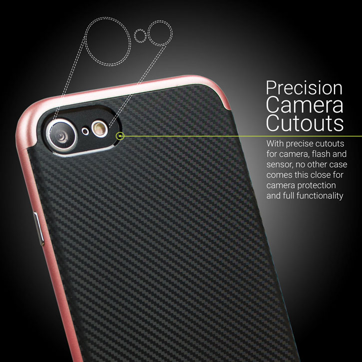 Olixar X-Duo iPhone 7 Case - Carbon Fibre Rose Gold