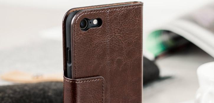 Housse iPhone 8 / 7 Olixar Portefeuille Simili Cuir - Marron vue sur appareil photo