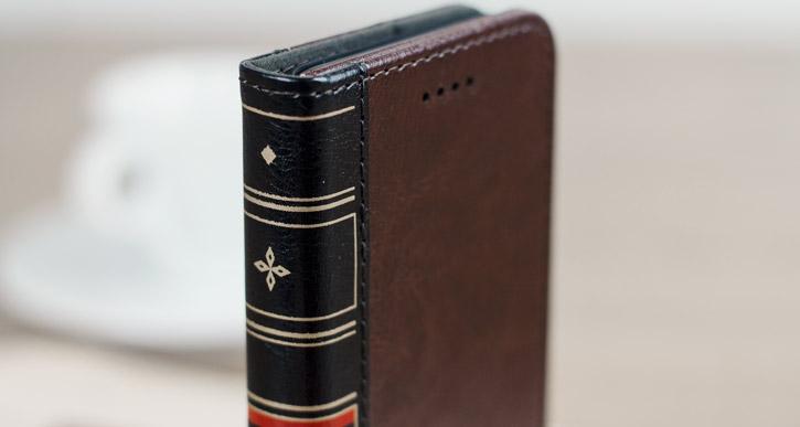 Housse iPhone 8 / 7 Olixar X-Tome Book Case simili cuir – Marron