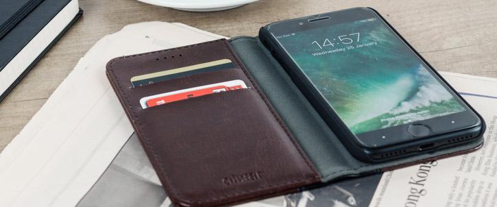 Housse iPhone 8 / 7 Olixar X-Tome Book Case simili cuir – Marron vue sur ports