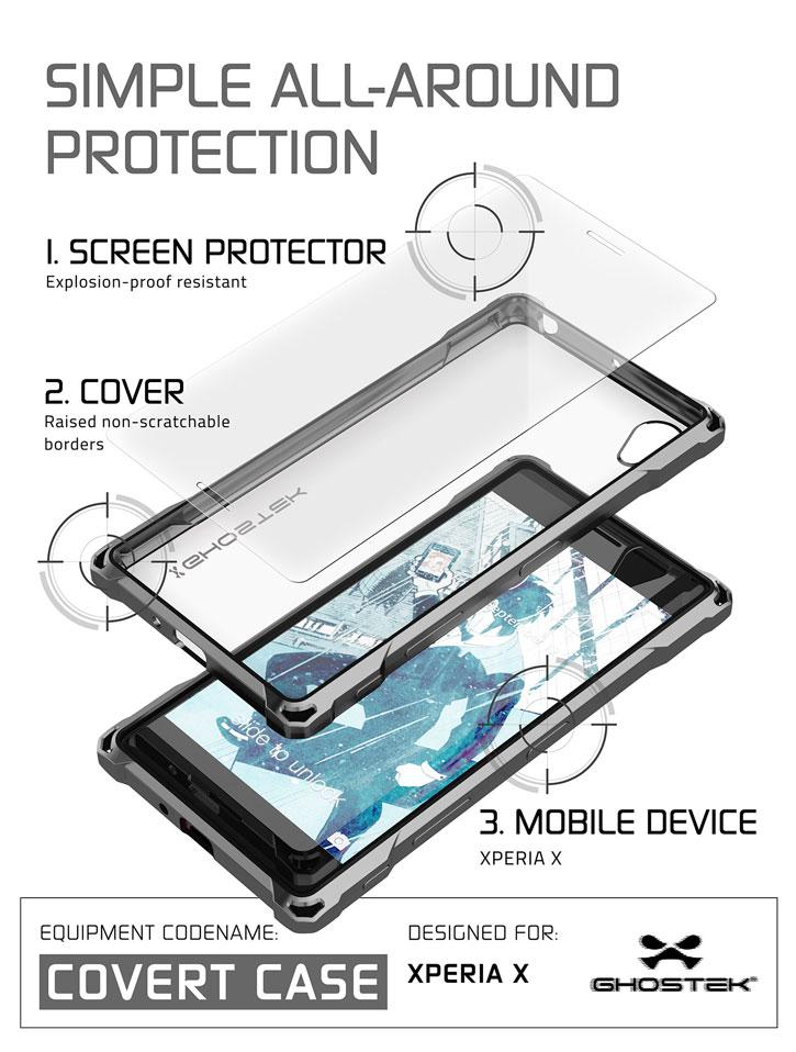 Ghostek Covert Sony Xperia X Bumper Case - Clear / Gold