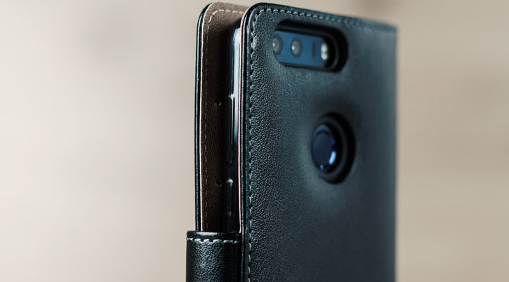 Olixar Leather-Style Huawei Honor 8 Wallet Case - Black / Tan