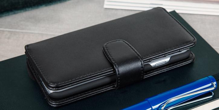Genuine Leather iPhone 7 Wallet Case - Black
