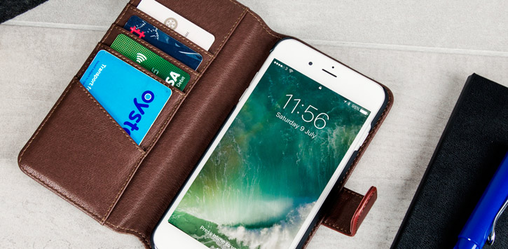 Genuine Leather iPhone 7 Plus Wallet Case - Brown