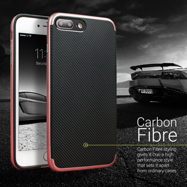 Coque iPhone 8 Plus / 7 Plus Olixar X-Duo - Fibre de carbone Or rose vue sur appareil photo