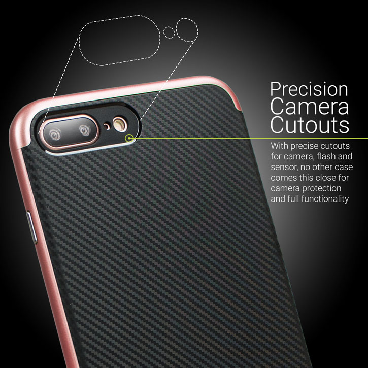 Coque iPhone 7 Plus Olixar X-Duo - Fibre de carbone Or rose