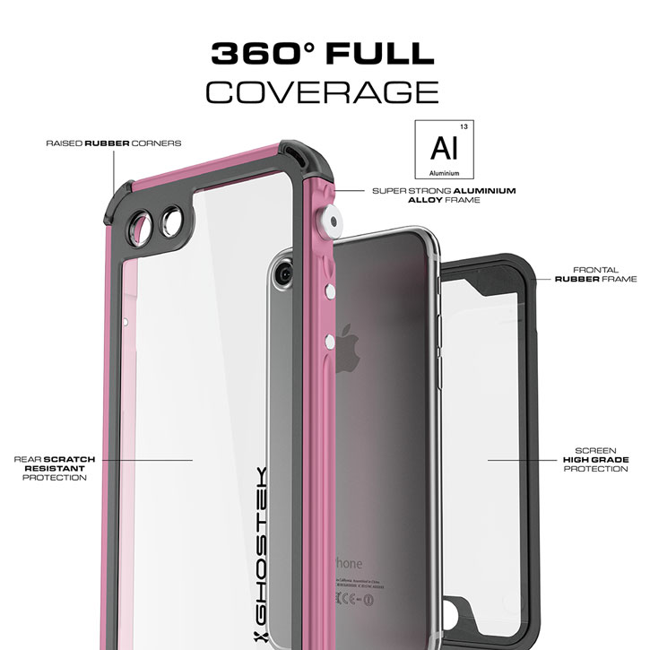 Coque iPhone 7 Ghostek Atomic 3.0 Waterproof Tough - Rose vue sur appareil photo