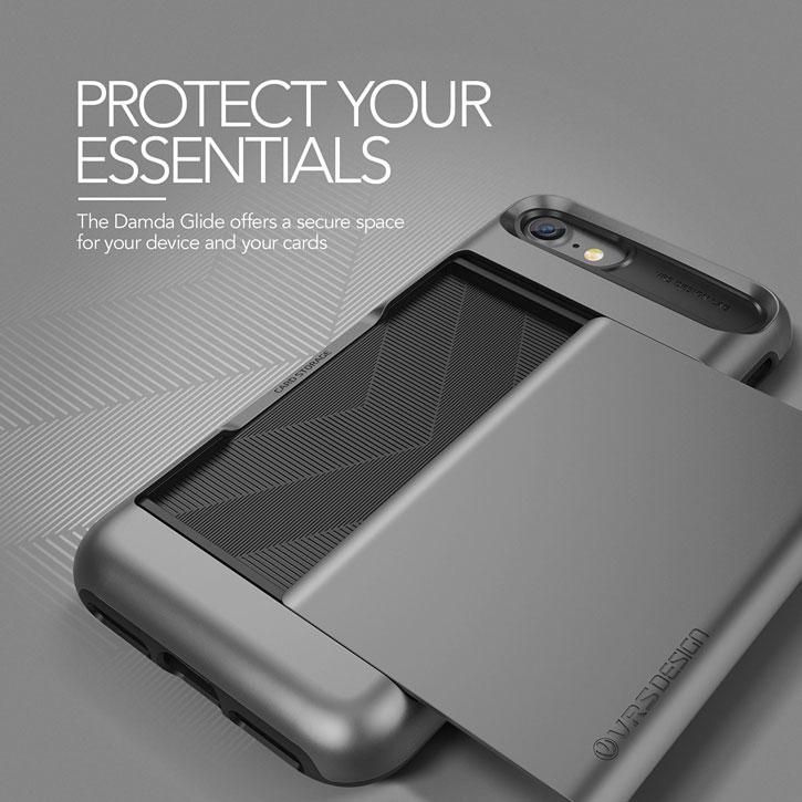 Coque iPhone 8 / 7 VRS Design Damda Glide – Argent Foncé vue sur appareil photo