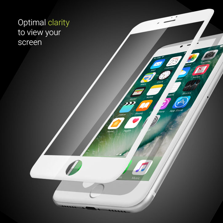 Olixar iPhone 7 Edge to Edge Tempered Glass Screen Protector -  White