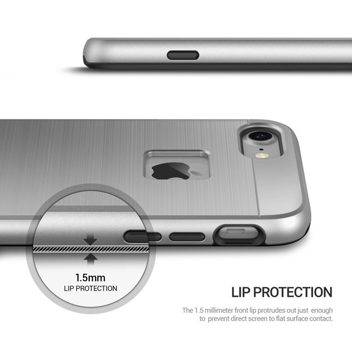 Coque iPhone 7 Obliq Slim Meta – Argent titane vue sur touches