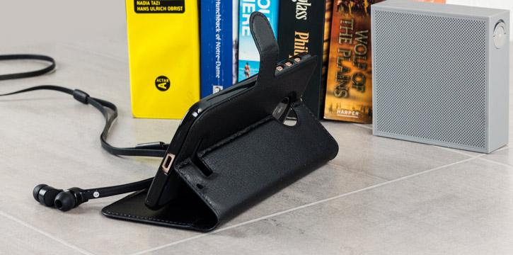 Olixar Leather-Style Motorola Moto Z Wallet Stand Case - Black