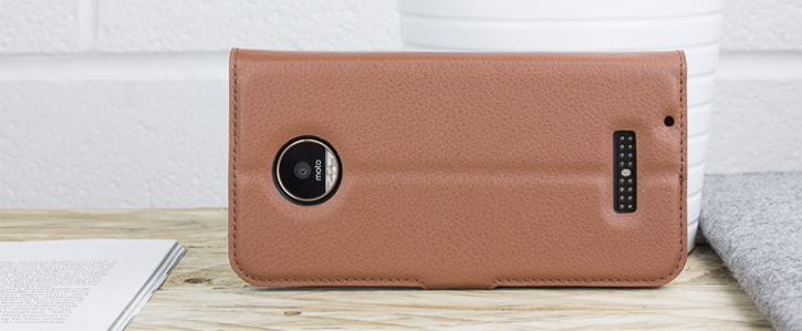 Olixar Leather-Style Motorola Moto Z Play Wallet Stand Case - Brown