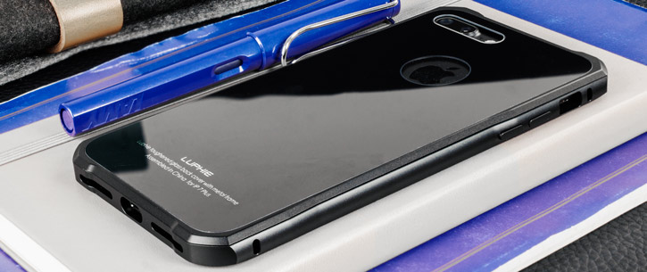 Luphie Tempered Glass and Metal iPhone 7 Plus Bumper Case - Black