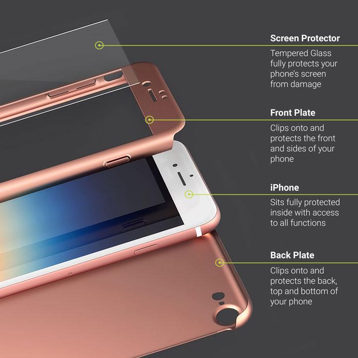 650ec59428 Olixar X-Trio Full Cover iPhone 7 Plus Case - Rose Gold