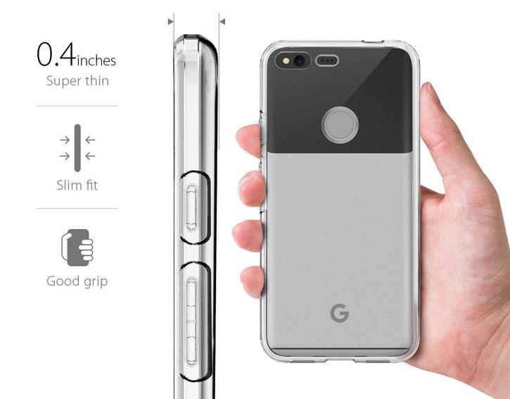 Coque Google Pixel XL Spigen Liquid Crystal - Transparente vue sur touches