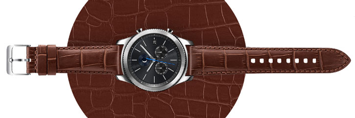 Official Samsung Gear S3 Alligator Grain Leather Strap - Brown
