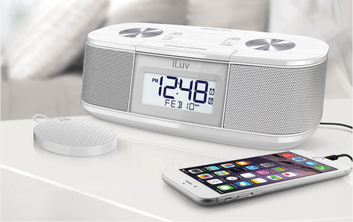 iLuv Timeshaker Micro Bluetooth LED Alarm Clock Speaker - White