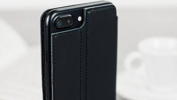Olixar Slim Genuine Leather Flip iPhone 7 Plus Wallet Case - Black