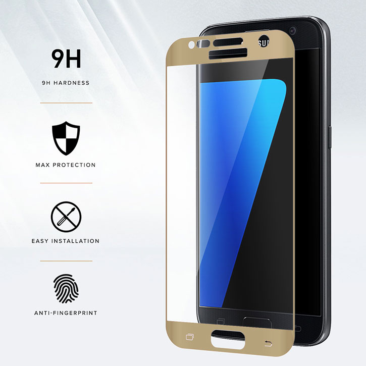 Zizo Full Body Samsung Galaxy S7 Glass Screen Protector - Gold