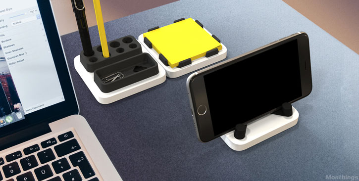 Soporte para smartphones y espacio almacenaje MThings 3-en-1