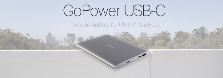 Kanex GoPower USB-C MacBook Portable 15000mAh Power Bank - Space Grey
