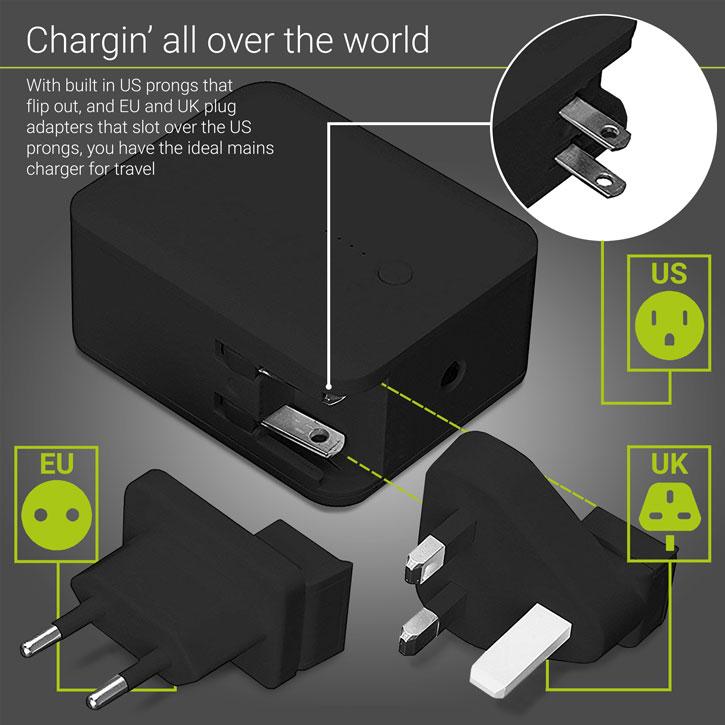 Tech Plus Mains Travel Charger & Portable Power Bank - 3000mAh
