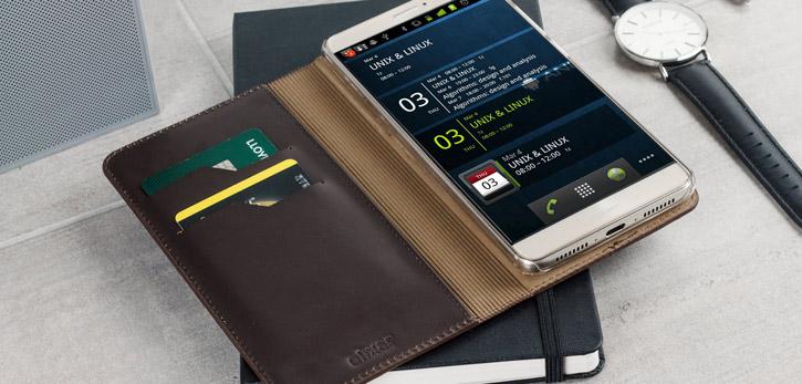 Olixar Genuine Leather Huawei Mate 9 Executive Wallet Case - Brown
