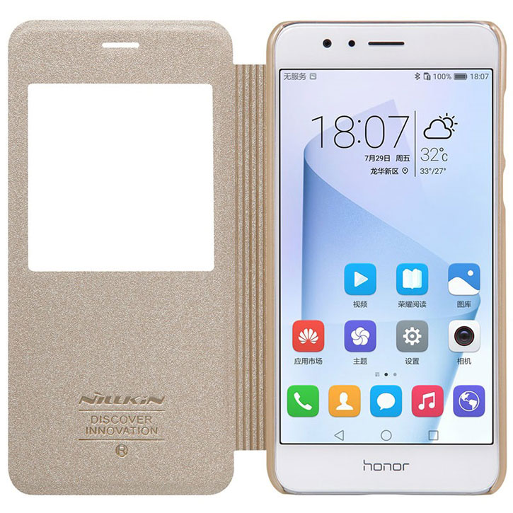 Nillkin Sparkle Big View Window Huawei Honor 8 Case - Gold
