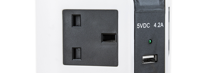SMore 8x UK Socket Vertical Extension Block w/ 4x USB Ports